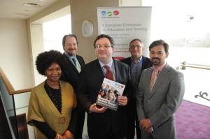 Dr Stephen Farry MLA (centre) with (from left to right) Althea Warner, DFE, Michael Gould, DELNI, Simon Williams, British Council and Kursat Levent Egriboz, Ecorys.